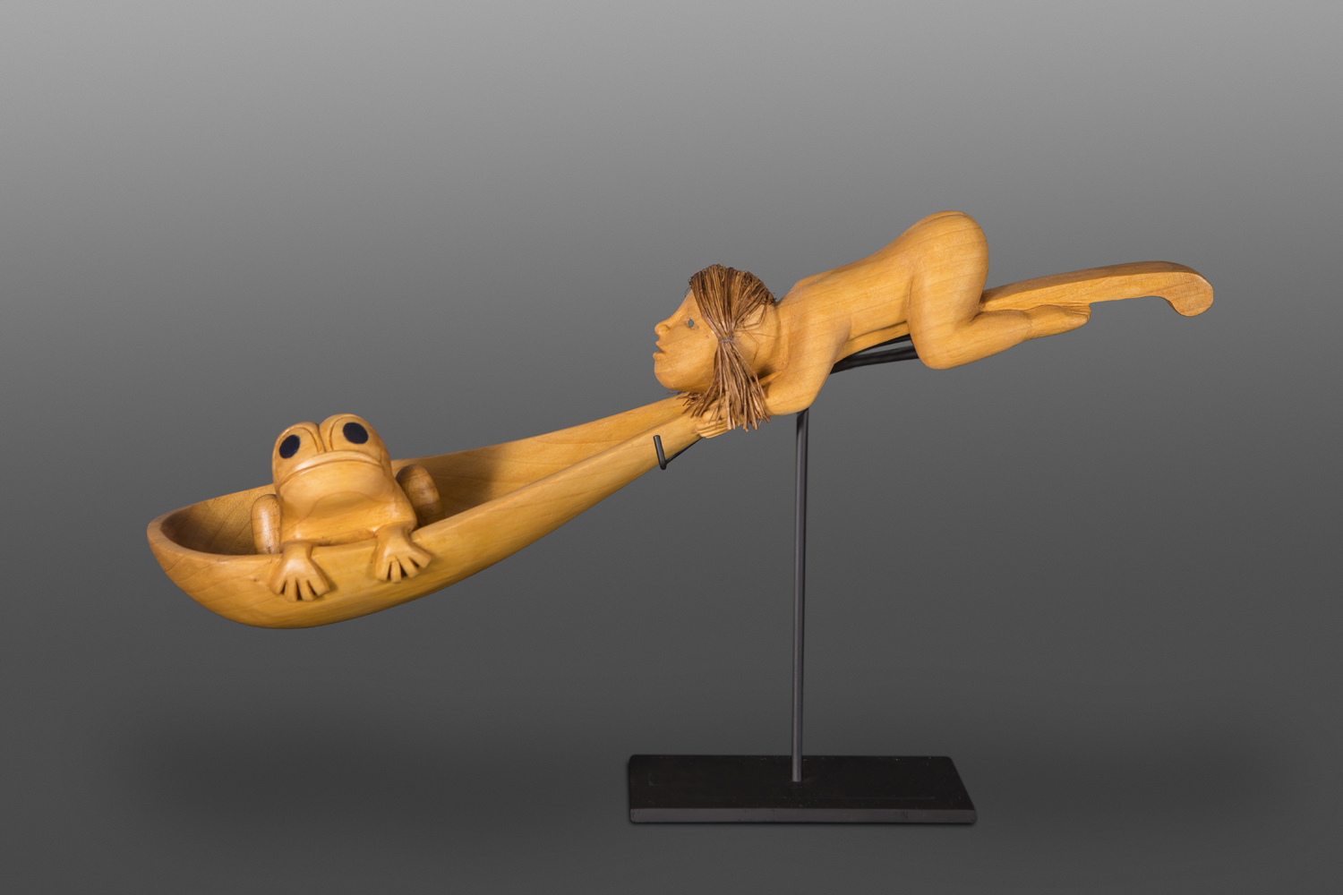 "Frog Woman Ladle Carol Young Bagshaw Alder, cedar bark, paint 12"" x 5"" x 5"" (8"" tall with stand) $5800"