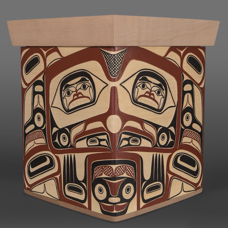 "Eagle Box David A Boxley Tsimshian Yellow & red cedar, paint 14"" x 12"" x 12"" $4000"