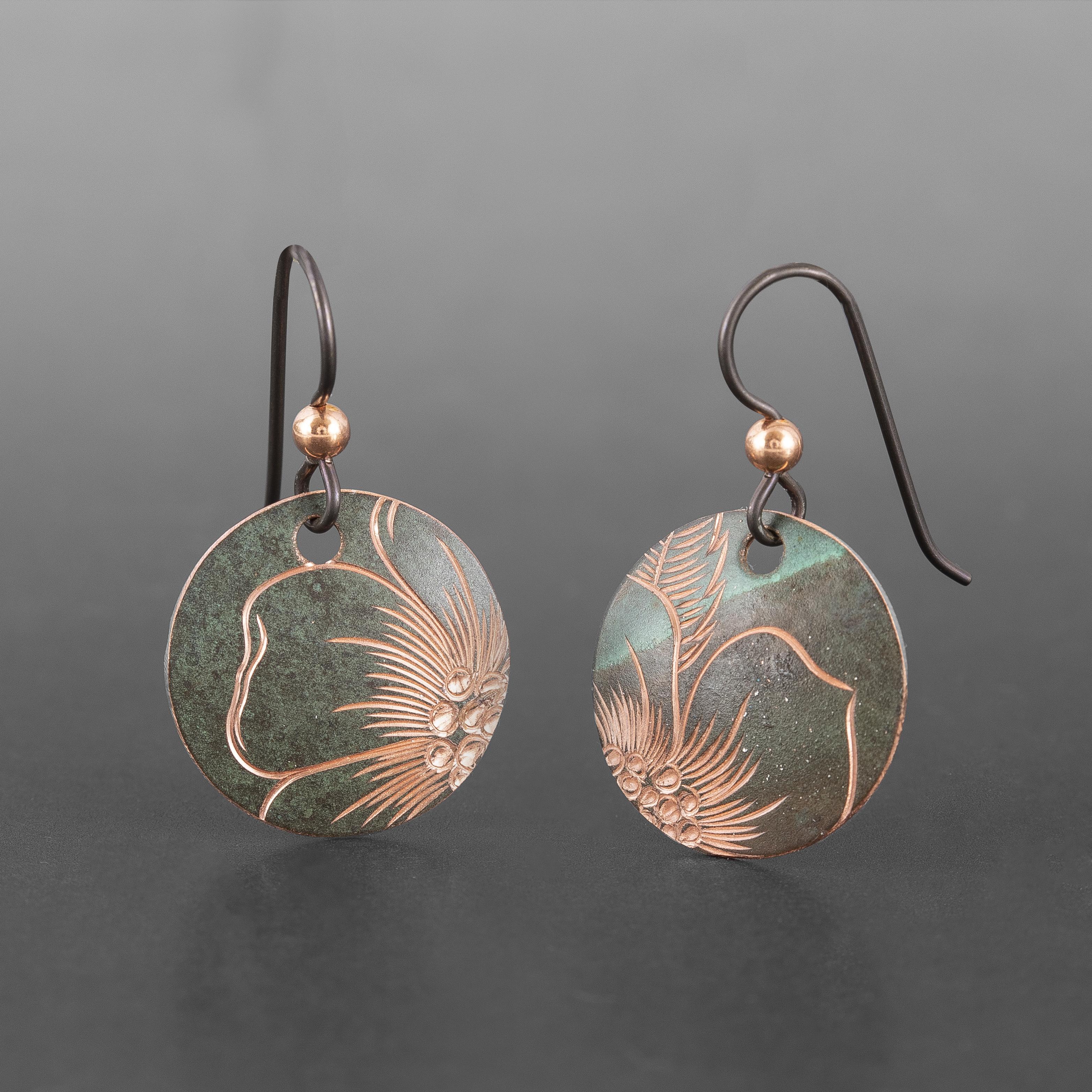 """Wildrose Disc Earrings Jennifer Younger Tlingit Copper ¾"""" dia. $100"""