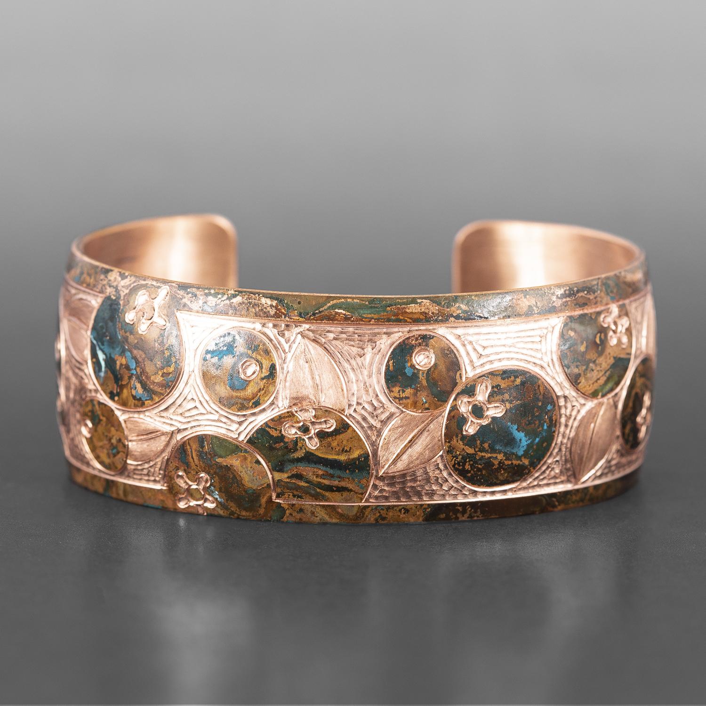 """Raven & Blueberries Bracelet Jennifer Younger Tlingit Copper 6"""" x 1"""" $400"""