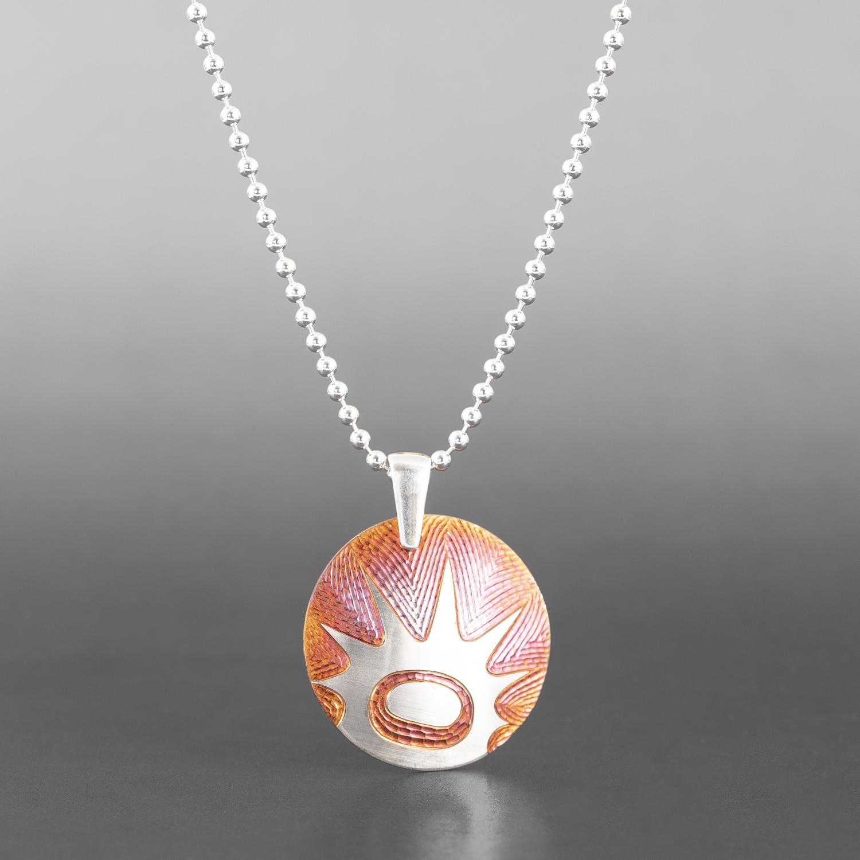 "Urchin Pendant Jennifer Younger Tlingit Copper, silver plate "" $195"