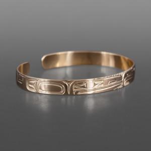 "Lovebirds Bracelet Bill Bedard Haida 14k gold 6"" x ¼"" $1600"