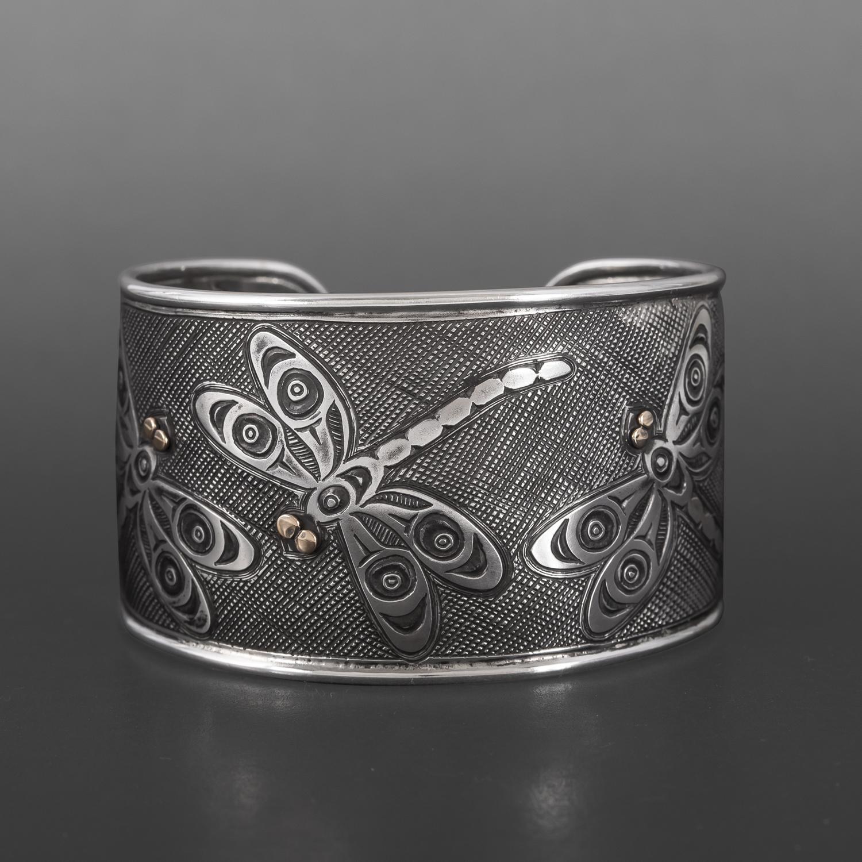 Dragonfly Bracelet Kelvin Thompson Saulteaux/Haisla Silver, 14k gold $2400