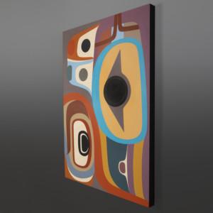 """The Gentle Raven Steve Smith - Dla'kwagila Oweekeno Acrylic on birch 24"""" x 36"""" $3000"""