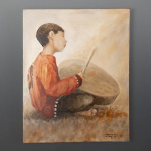In His Own World Drummer Boy Jean Taylor Tlingit contemporary painting