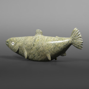 "Well Fed Fish  Ottokie Aningmiuq Inuit  Serpentine, bone #74 10"" x 4"" x 2""  $750"
