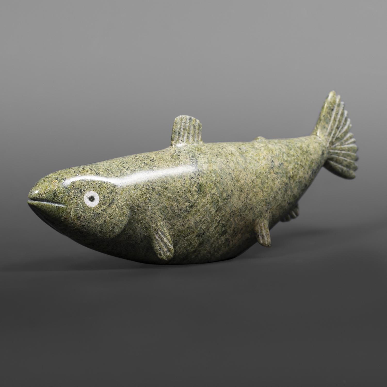 "Chubby Fish Ottokie Aningmiuq Inuit Serpentine, bone #74 10"" x 4"" x 2"""