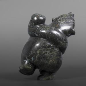 "Happy Dancing BearMarkoosie Papigatuk InuitSerpentine #70 7"" x 6"" x 4""$1100"