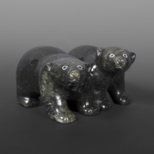 "Bear Cubs Markoosie Papigatuk Inuit Serpentine 6"" x 4½"" x 2½"""