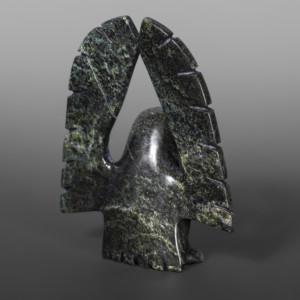 "Wings Up Owl Adamie Qaumagiak Inuit Serpentine #17 5"" x 4"" x 1"" $325"