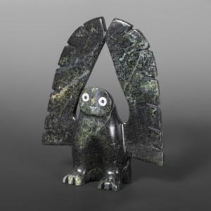"Wings Up Owl Adamie Qaumagiak Inuit Serpentine #17 5"" x 4"" x 1"""
