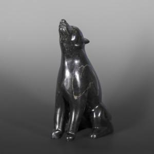 "Howling Wolf Mathew Flaherty Inuit Serpentine 7"" x 5"" x 3"" $680"