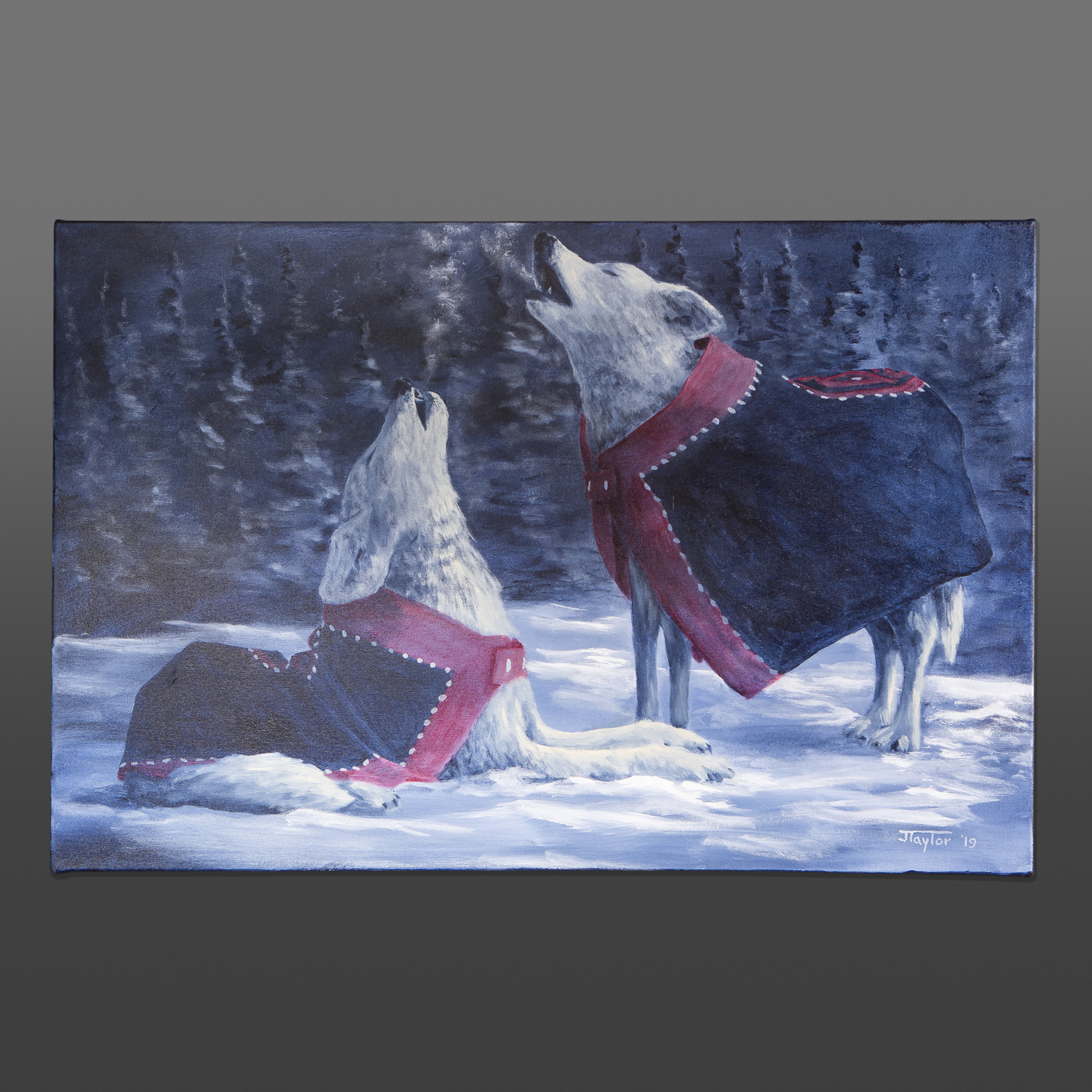In the Mid of the Night Jean Taylor Tlingit Wolves painting
