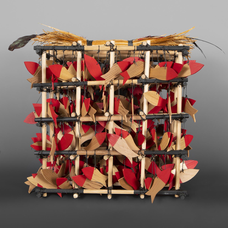 "Salmon Weir Rattle Gerren Peters Nuu-Chah-Nulth Red cedar, cedar bark, feathers, paint 16"" x 16"" x 16"" $2500"