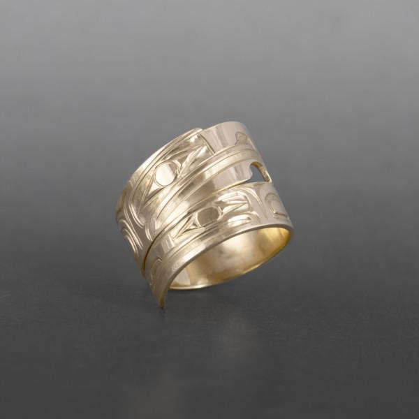 Lovebirds Wrap Ring Bill Bedard Haida 14k gold