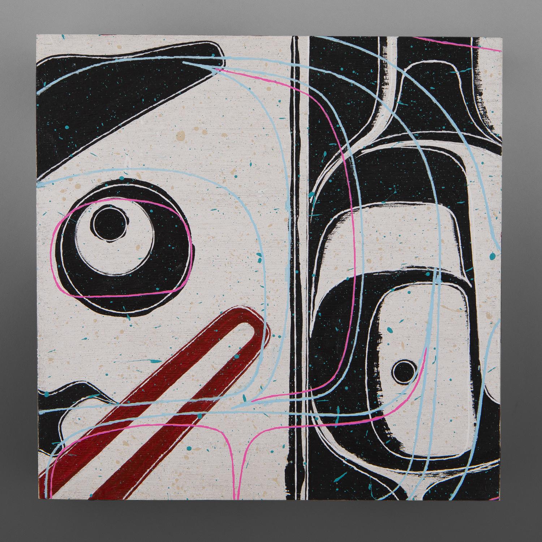 "Fishing 1 (Human) Clinton Work Kwakwaka'wakw Acrylic on birch panel 8"" x 8"" x 1"" each $550"
