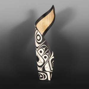 "It's Never Black + White Steve Smith - Dla'kwagila  Oweekeno  Turned maple, paint 19½""x 5""x 5"" $3800"