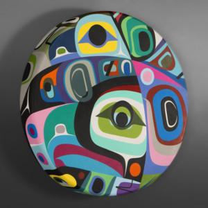 "A Time of Hope Steve Smith - Dla'kwagila Elk-hide drum, paint 24"" dia. x 3"" $6000"