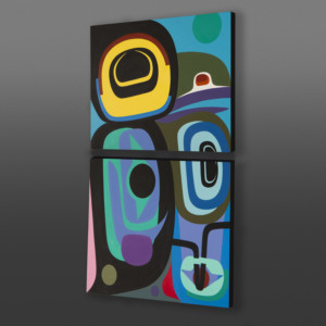 "Love Created Steve Smith - Dla'kwagila Acrylic on birch panel,  diptych 36"" x 24"" x 1½ $3600"
