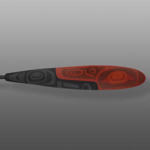 """Red & Black Paddle Steve Smith - Dla'kwagila Oweekeno Yellow cedar, paint 62"""" x 5½"""" x 1½"""" $4600"""