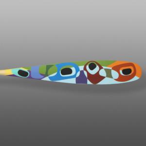 """Simple Yet Complex Paddle Steve Smith -  Dla'kwagila Oweekeno Yellow cedar, paint 62"""" x 5½"""" x 1½"""" $4600"""