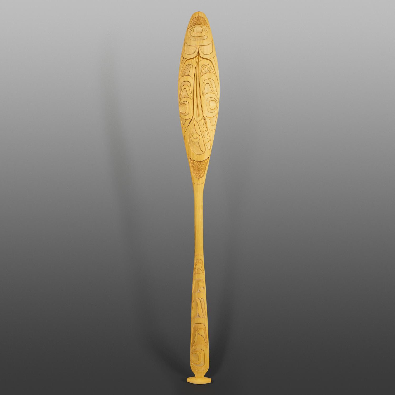 "Hummingbird Paddle Erich Glendale Kwakwaka'wakw Yellow cedar 63"" x 7"" x 1½"" $3500"