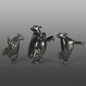 Trio of Hares Pitseolak Qimirpiq Inuit Serpentine L-R $180, $260,  $190