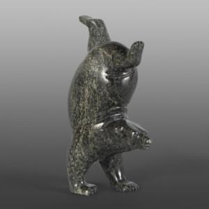 """Little Handstanding Bear Tim Pee Inuit Serpentine  4"""" x 2½"""" x 1½"""" $290"""