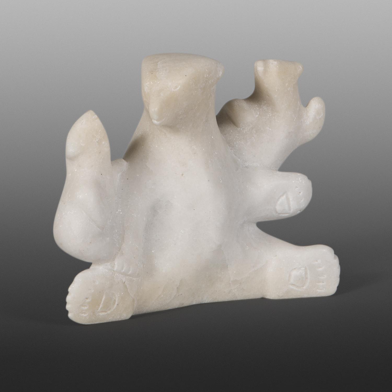 """Polar Bear Family  Ottokie Aningmiuq Inuit, 7267N  Marble 6½"""" x 5"""" x 2½""""  $700"""