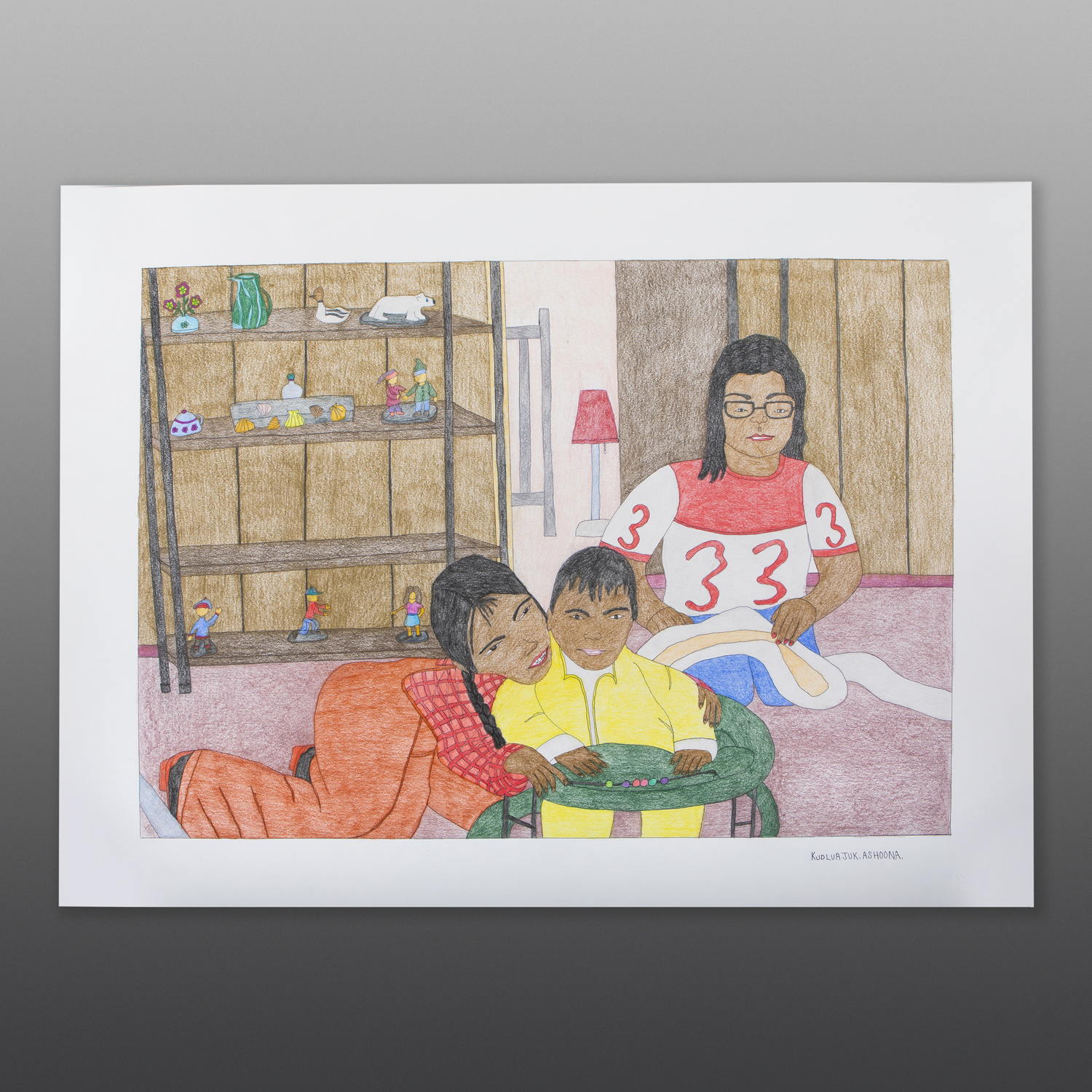 "A Home With My Family Kudluajuk Ashoona Inuit Color pencil, ink on paper 23"" x 30"" $800"