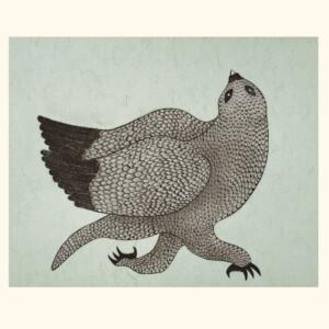 Running Owl Quvianaqtuk Pudlat Etching & Chine Collé