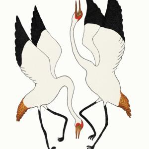 Dancing Cranes Quvianaqtuk Pudlat Inuit Stonecut Cape Dorset Print Collection 2020
