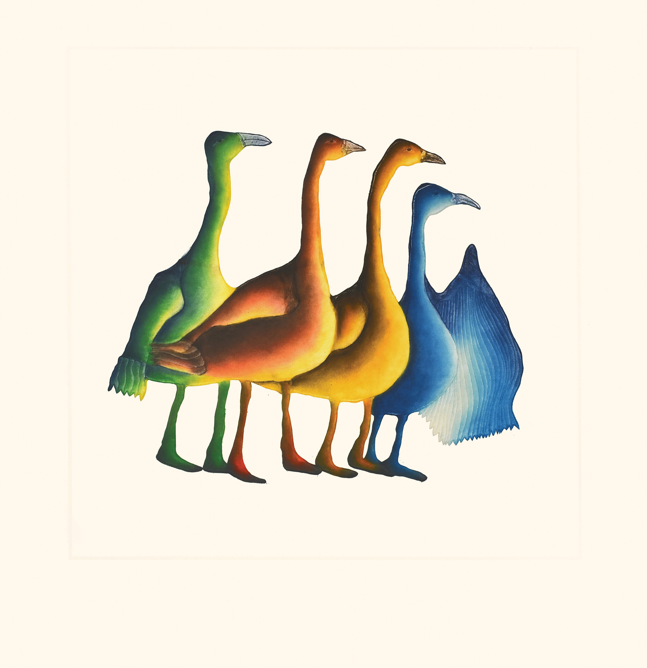 Gaggle of Geese Pitaloosie Saila Inuit Etching & Aquatint Cape Dorset Print Collection 2020
