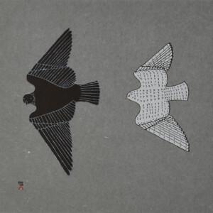 Aerial Pursuit Johnny Pootoogook Inuit Stonecut Cape Dorset Print Collection 2020