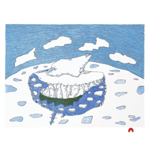 Solitary Iceberg Ooloosie Saila Inuit Lithograph Cape Dorset Print Collection 2020