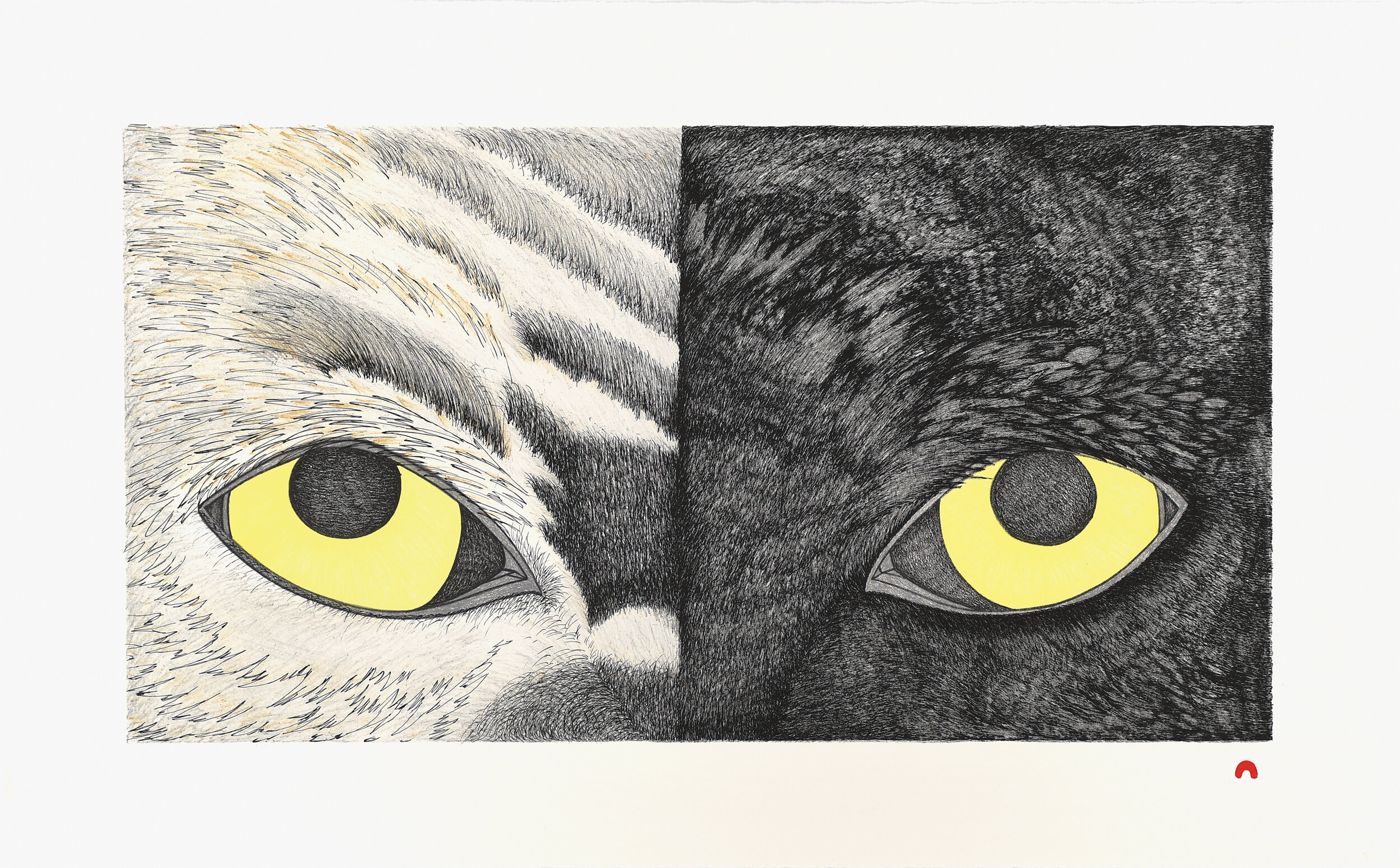Opposite Attraction Padloo Samayuali Inuit Lithograph Cape Dorset Print Collection 2020