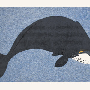 Massive Bowhead Pauojoungie Saggiak Inuit Stonecut & Stencil Cape Dorset Print Collection 2020