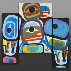 "Freedom  Steve Smith - Dla'kwagila Oweekeno Acrylic on birch panel, triptych 50"" x 56"" x 1½"" (12"" x 36"", 24"" x 36"", 12"" x 36"") $6400"