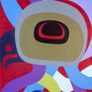 """Young Octopus Steve Smith - Dla'kwagila Oweekeno Acrylic on birch panel 24"""" 30"""" x 1½"""" $2500"""