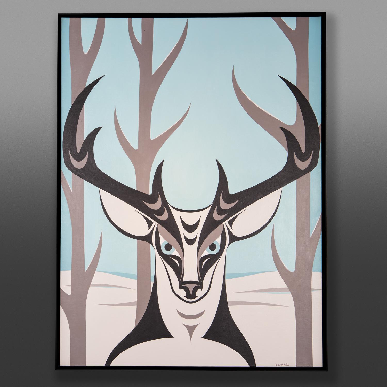 "Deer Lake Kelly Cannell Coast Salish 31"" x 41"" x 2"" Acrylic on canvas, framed $3800"