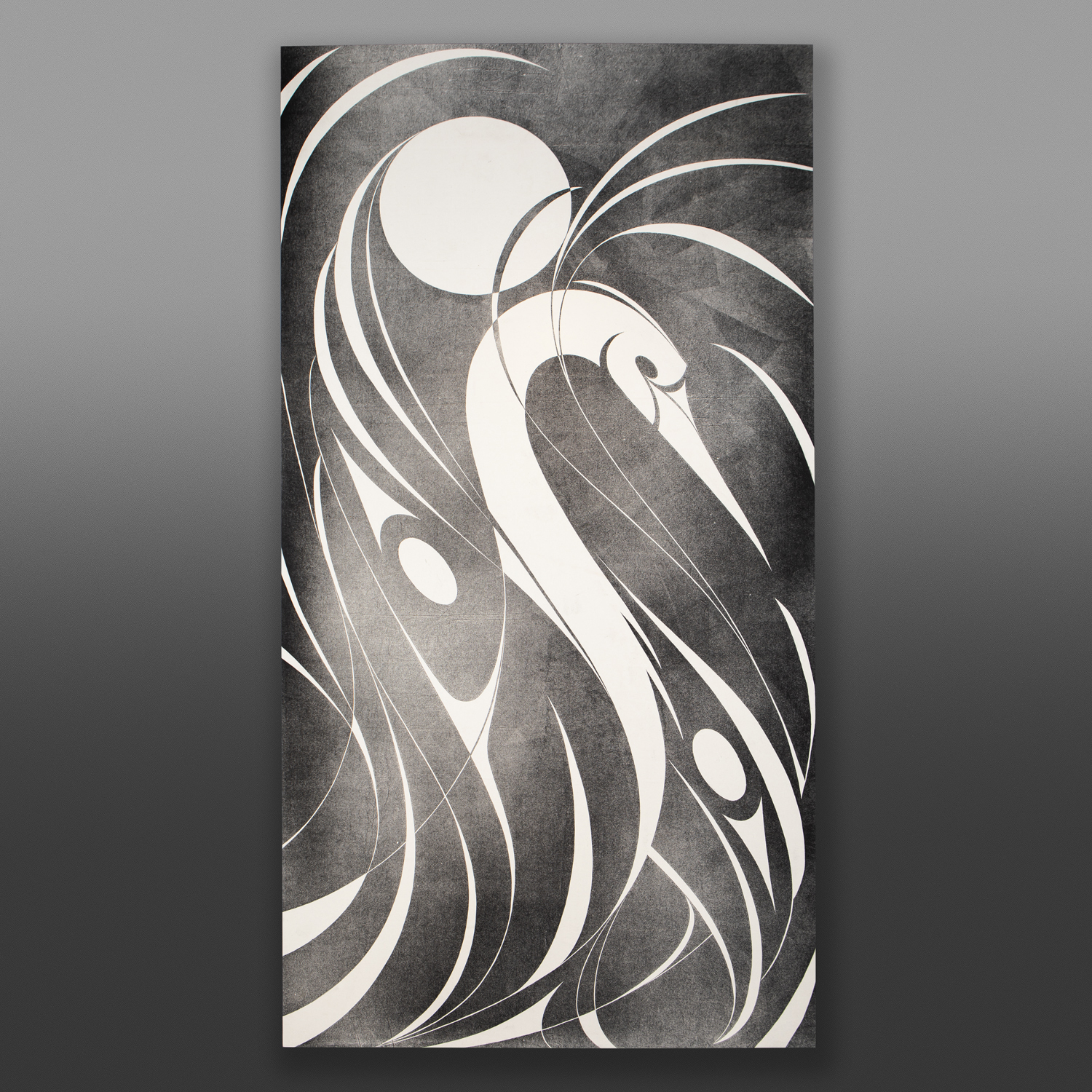 """Great Heron Kelly Cannell Coast Salish Ink on canvas 96"""" x 48"""" x 2"""" $6900"""