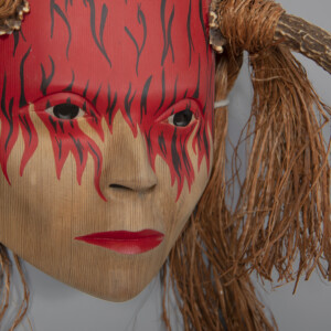 "Spirit of Fire Stan Greene Coast Salish Red cedar, cedar bark, shed antler, paint 18"" x 12"" x 15"" $4200"