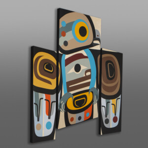 Knowing (Owl Triptych)  Steve Smith - Dla'kwagila Oweekeno Acrylic paintings on birch panels