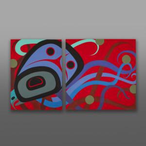 Passion (Octopus Diptych) Steve Smith - Dla'kwagila Oweekeno Acrylic painting on birch panels
