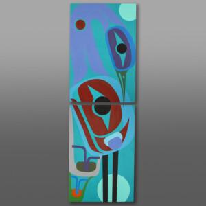 Elegance (Great Blue Heron Diptych) Steve Smith - Dla'kwagila Oweekeno Acrylic painting on birch panels