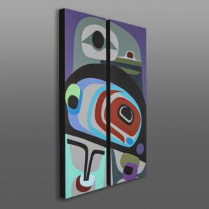 Celebration (Raven Diptych) Steve Smith - Dla'kwagila Oweekeno Acrylic painting on birch panels