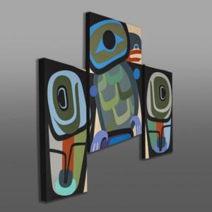 Trickster (Raven Triptych) Steve Smith - Dla'kwagila Oweekeno Acrylic painting on birch panels