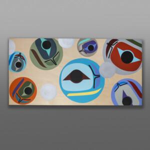 "Returning (Salmon Roe)Steve Smith - Dla'kwagila OweekenoAcrylic on birch panel 30"" x 15"" x 1½""$3000"