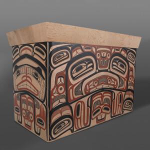 "Eagle Chief's Chest David Boxley Tsimshian Red cedar, paint 23"" x 18½"" x 34½"" $25,000"