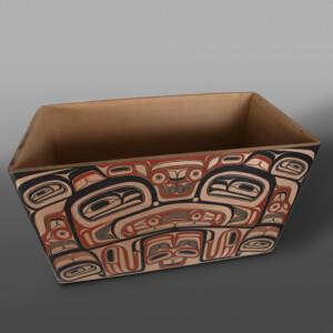 """Eagle Chief's Treasure Box  David Boxley Tsimshian Red cedar, paint 23"""" x 18½"""" x 34½"""" $20,000"""
